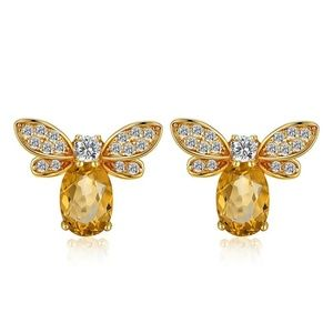 Citrine Cubic Zirconia 14K Gold Honey Bee Earrings
